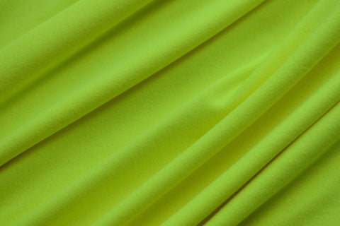 Neon Yellow Double Brushed Poly Solid Fabric