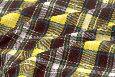 Yellow & Brown Plaid Shirting Flannel