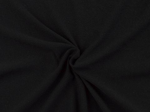 Black Double Brushed Poly Solid Fabric