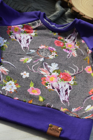 Aspen pullover Purple with Floral Skull print