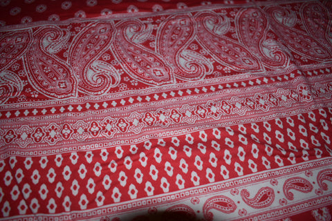 Red and white boho stripes Double Brushed Poly Fabric