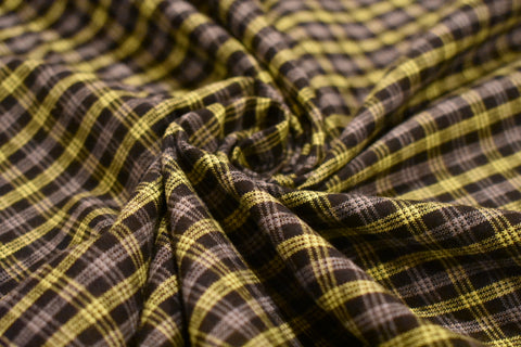 Lime Green, Black, and Grey Plaid Shirting Flannel