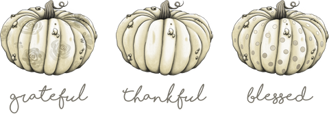 Grateful Thankful Blessed White Pumpkins Panel