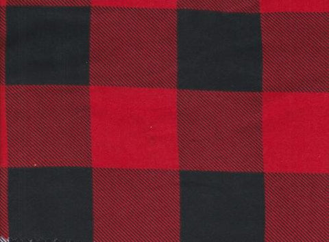 Red and Black Buffalo Plaid Double Brushed Poly Fabric