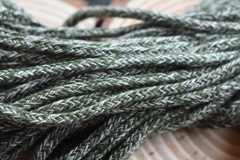Green and White Drawstring Cord