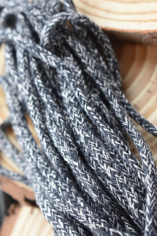 Grey and White Drawstring Cord