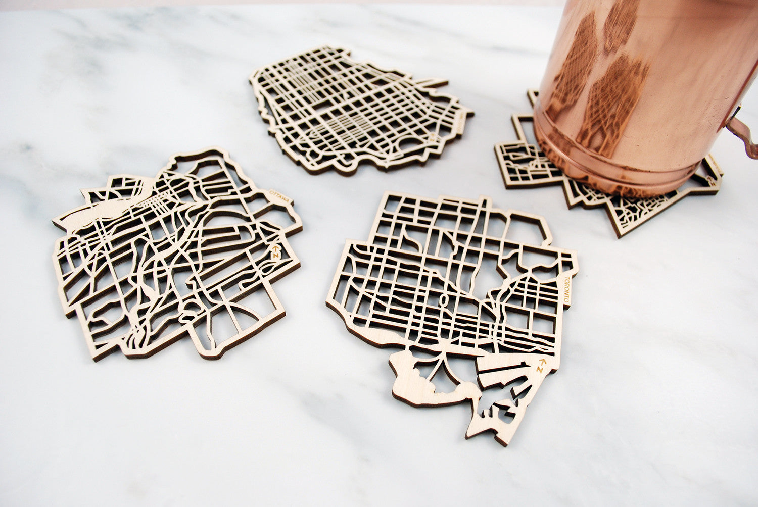 Canadian Cities Map Coasters (set of 4)
