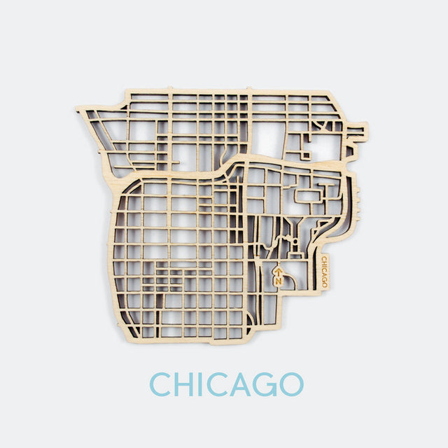 Chicago Map Coasters (set of 4)