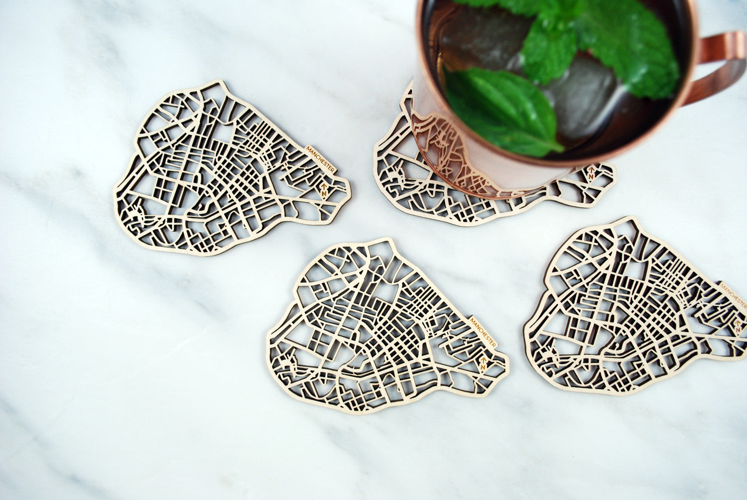 Manchester Map Coasters (set of 4)