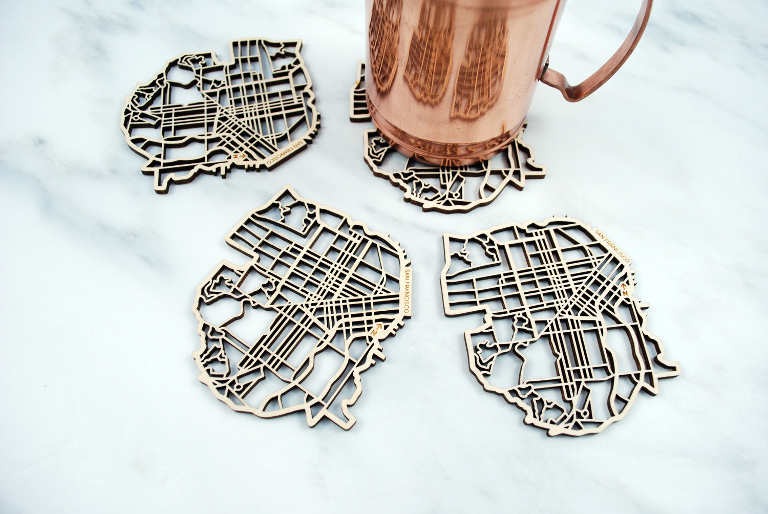 San Francisco Map Coasters (set of 4)