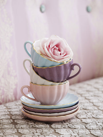 BOMBAY DUCK BELLE TEACUP AND SAUCER - Teal and Gold