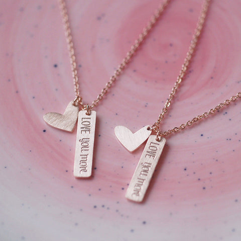 ROSE GOLD LOVE YOU MORE NECKLACE - Teal and Gold