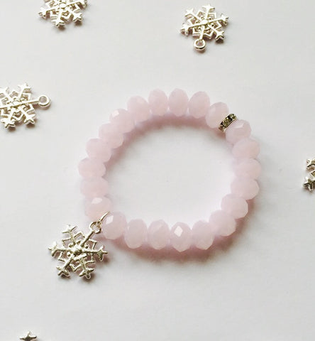 PINK SNOWFLAKE CHILDREN'S BRACELET - Teal and Gold