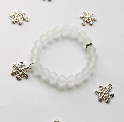 WHITE FROSTED SNOWFLAKE CHILDREN'S BRACELET - Teal and Gold