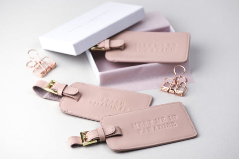 BLUSH PINK LEATHER LUGGAGE TAGS - Teal and Gold