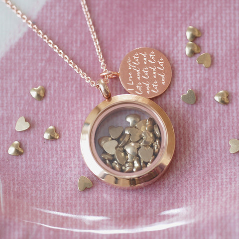 ROSE GOLD LOVE YOU LOTS NECKLACE - Teal and Gold