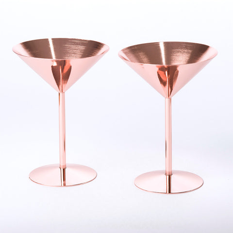 ROSE COPPER COCKTAIL GLASS - Teal and Gold