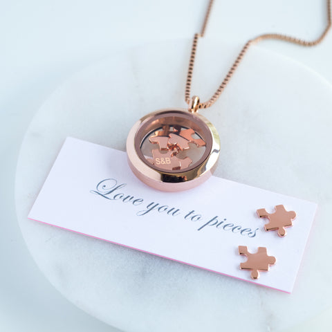 ROSE GOLD LOVE YOU TO PIECES NECKLACE - Teal and Gold