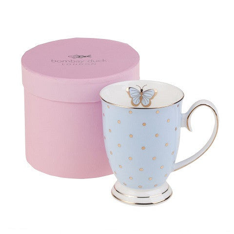 BOMBAY DUCK BUTTERFLY MUG POWDER BLUE - Teal and Gold