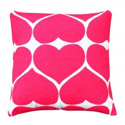 EMBROIDERED HEART CUSHION FLAMINGO PINK - Teal and Gold