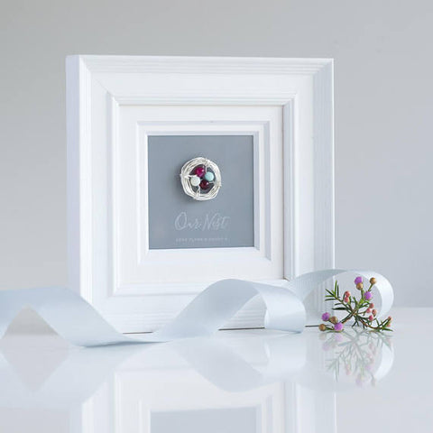 'OUR NEST' BIRTHSTONE WHITE FRAME - Teal and Gold