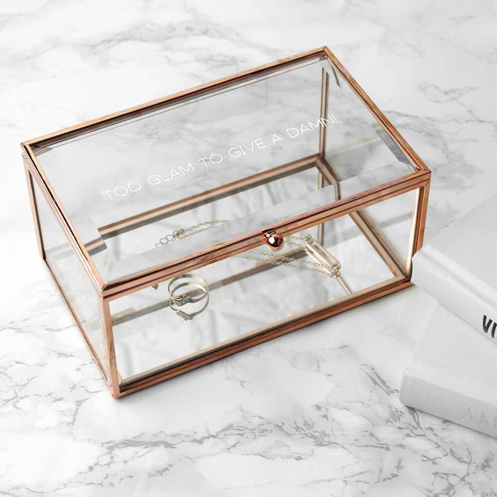 ROSE GOLD GLASS JEWELLERY BOX Teal Gold