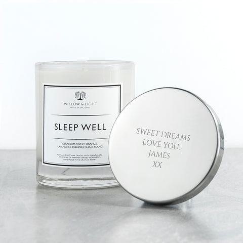 PERSONALISED SLEEP WELL CANDLE - Teal and Gold
