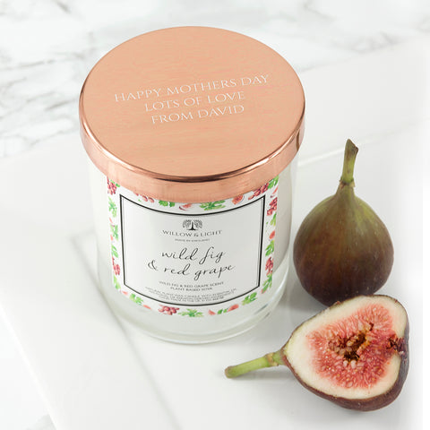 PERSONALISED WILD FIG & RED GRAPE CANDLE WITH COPPER LID - Teal and Gold