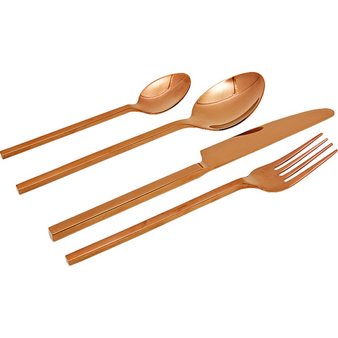 ROSE GOLD CUTLERY SET - Teal and Gold