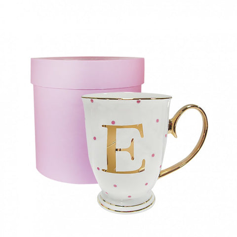 BOMBAY DUCK ALPHABET SPOTTY MUG 'E' - Teal and Gold