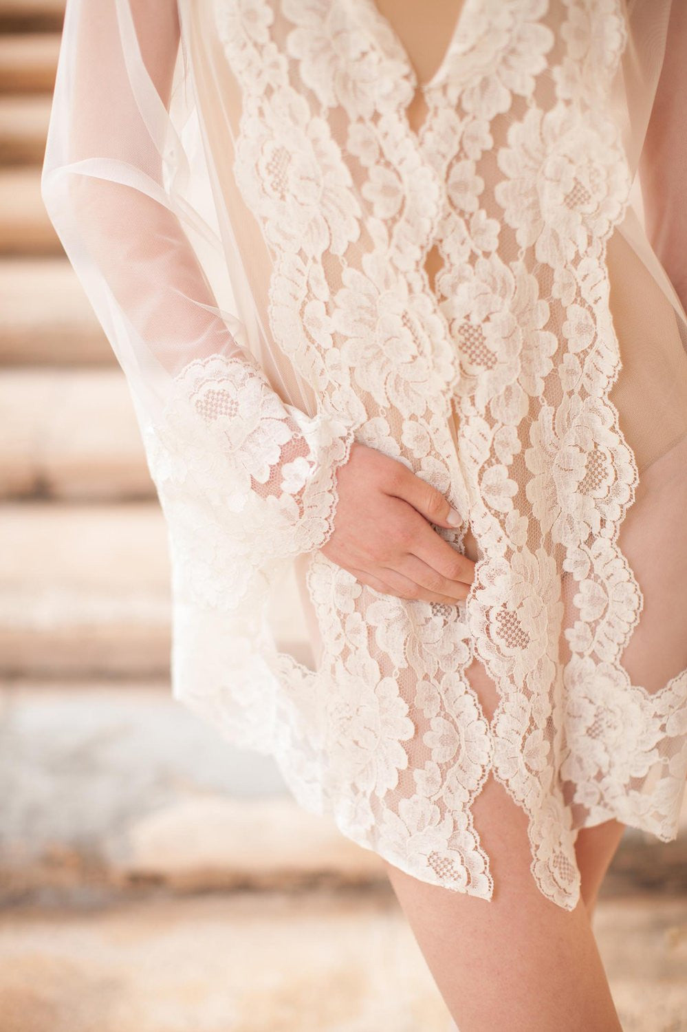 Amalfi Hooded Tulle sheer Lace boudoir kimono robe Ivory Cover Up Honeymoon