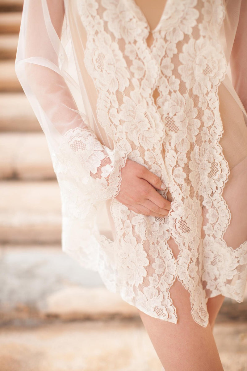 Bridal lace robe ivory wedding