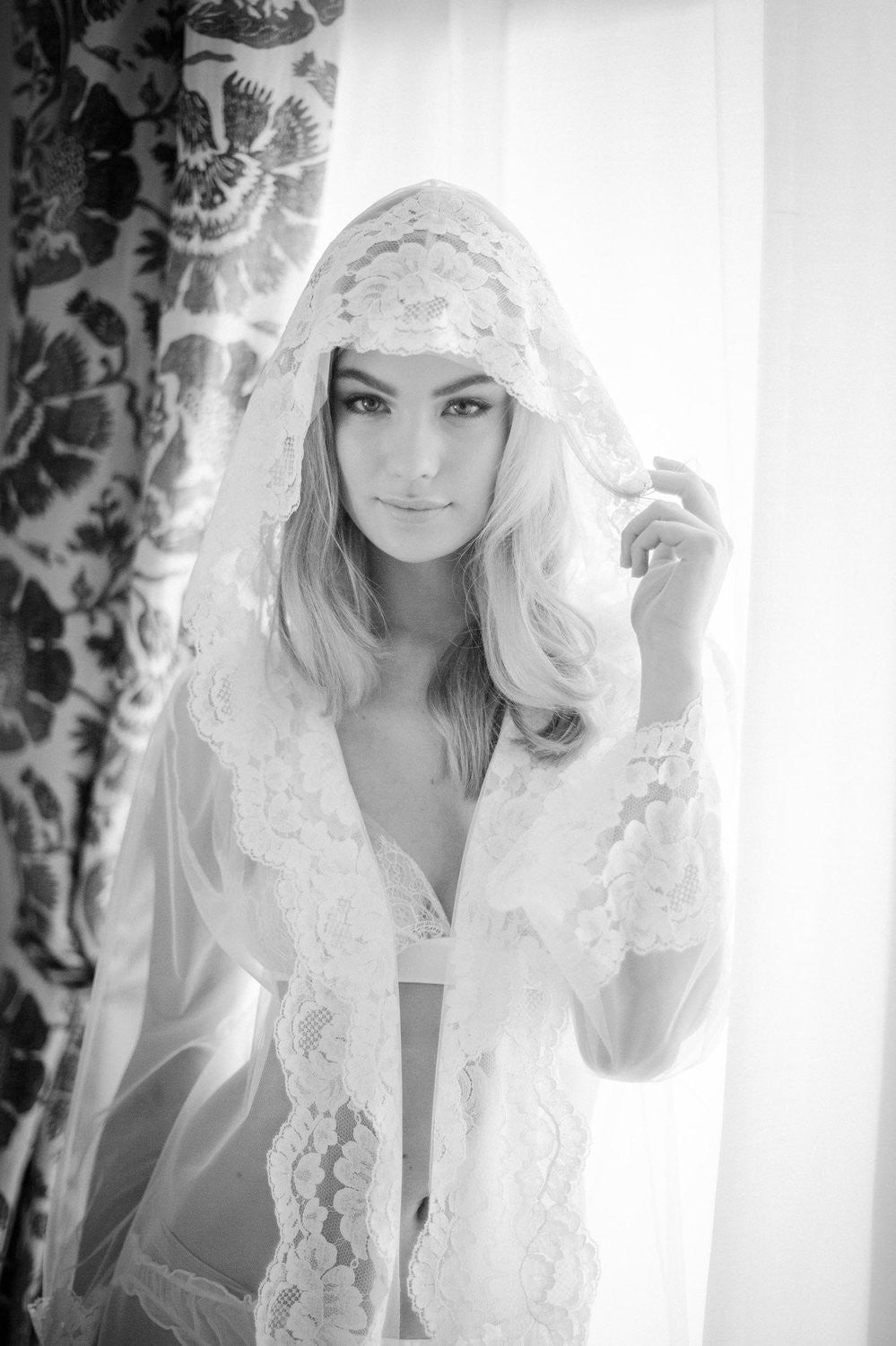 Amalfi Hooded Tulle sheer Lace boudoir kimono robe Ivory Cover Up Bridal wrap