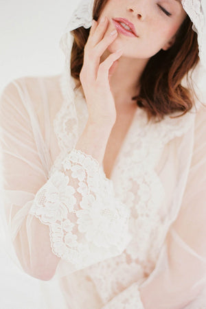 Amalfi Hooded Lace kimono robe Bridal Lace Cover Up Ivory