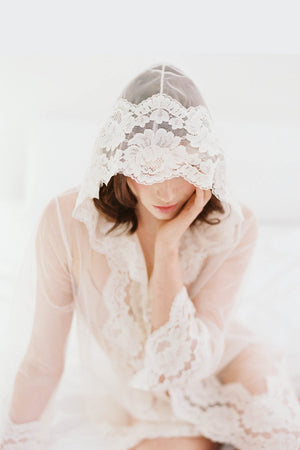 Amalfi Hooded Lace kimono robe Bridal Honeymoon Lace Cover Up