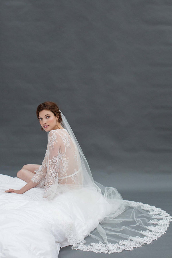 AMANDA DELICATE AND SHEER ALENCON LACE VEIL IN IVORY