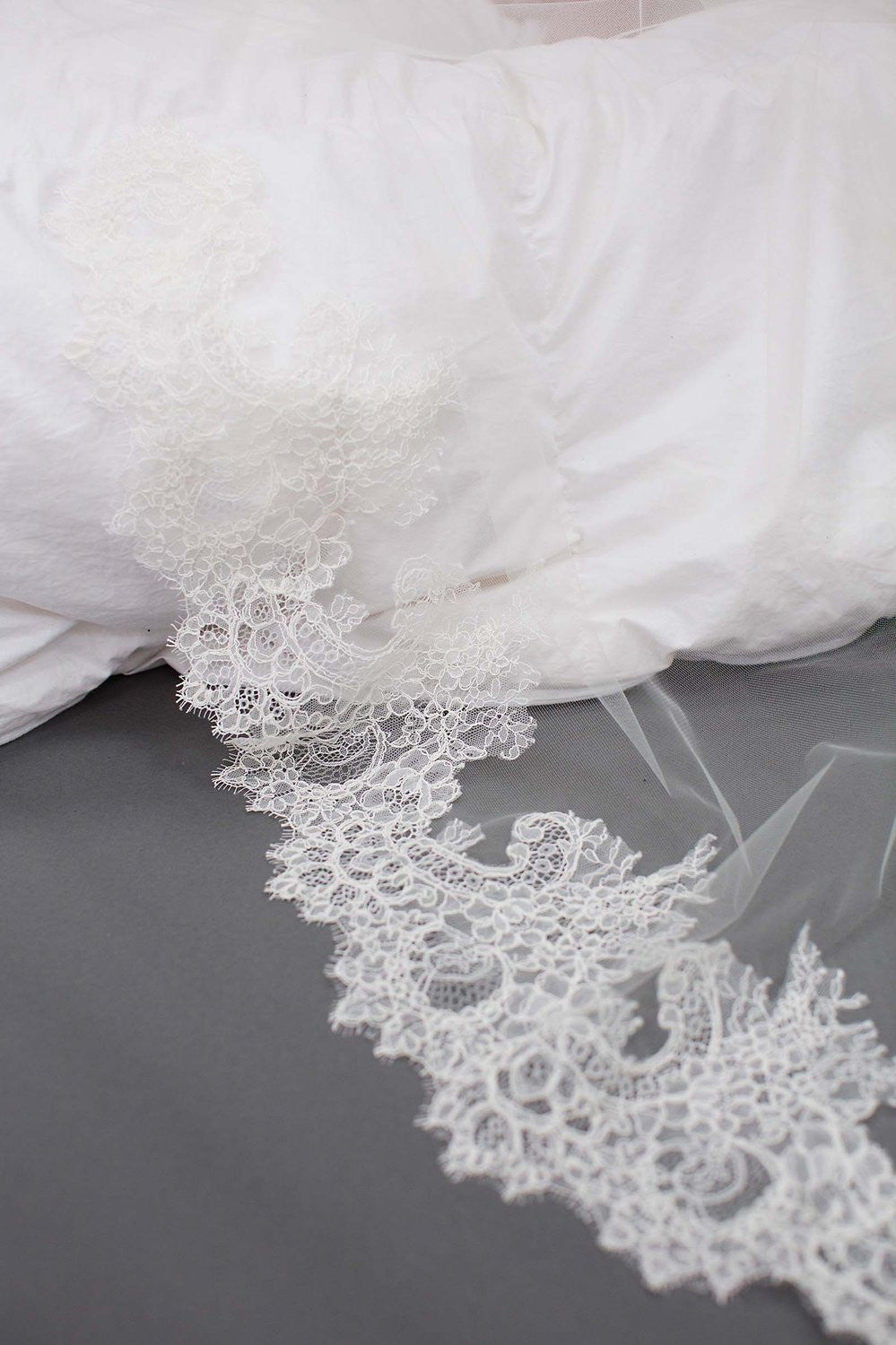 AMANDA DELICATE AND SHEER ALENCON LACE VEIL IN IVORY - STYLE V1702