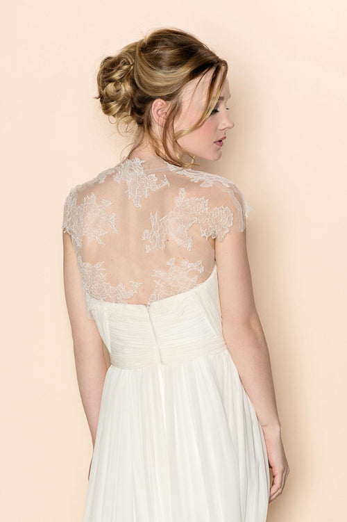 AMBER FRENCH LACE AND TULLE CAP SLEEVE BRIDAL COVER UP BOLERO SHRUG - STYLE 092