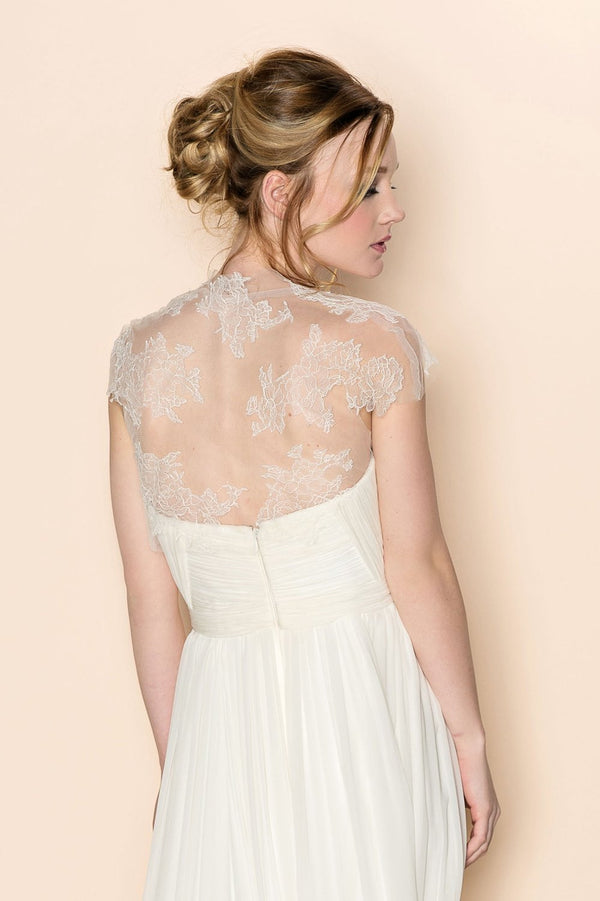 AMBER FRENCH LACE AND TULLE CAP SLEEVE BRIDAL COVER UP BOLERO SHRUG Ivory