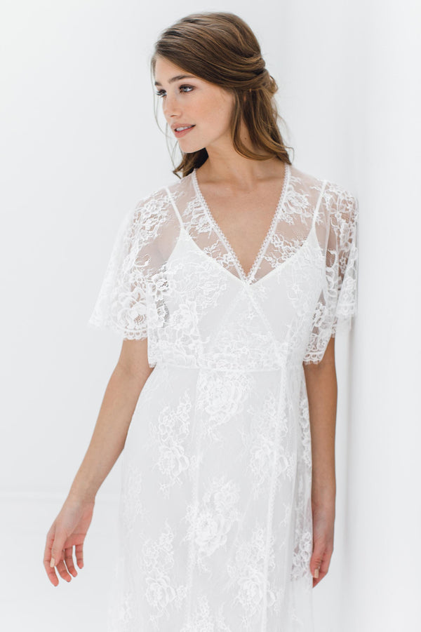 Anita Midi lace robe with flutter kimono sleeves in Ivory wedding shower silk dress cover up