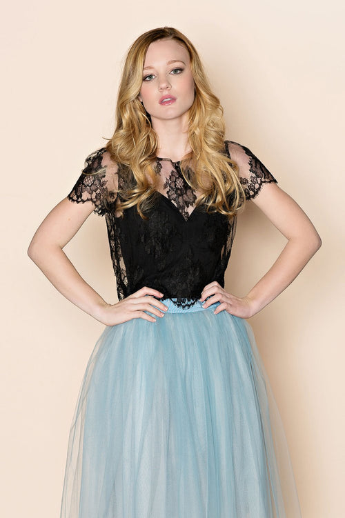Roseline French lace blouse crop top in black