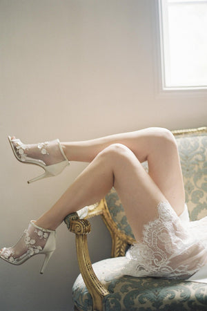 Boudoir Bridal Lace Robe in Ivory shot by Kurt Boomer