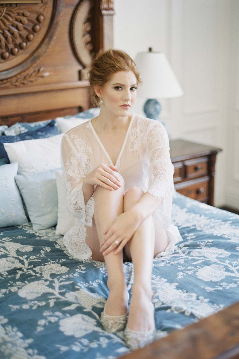 Boudoir Bridal Lace Robe in Ivory shot by Kurt Boomer with bella bella