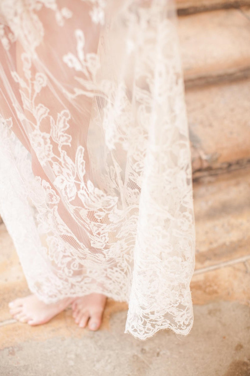 BELLE ÉPOQUE EDWARDIAN FLORAL FRENCH LACE TULLE SKIRT IN NATURAL IVORY
