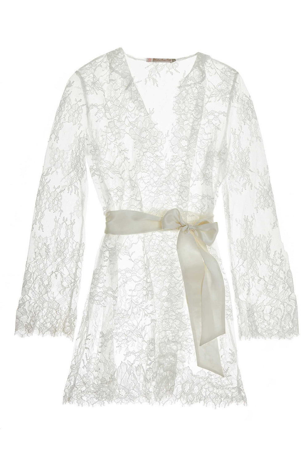 Camellia lace robe in Ivory