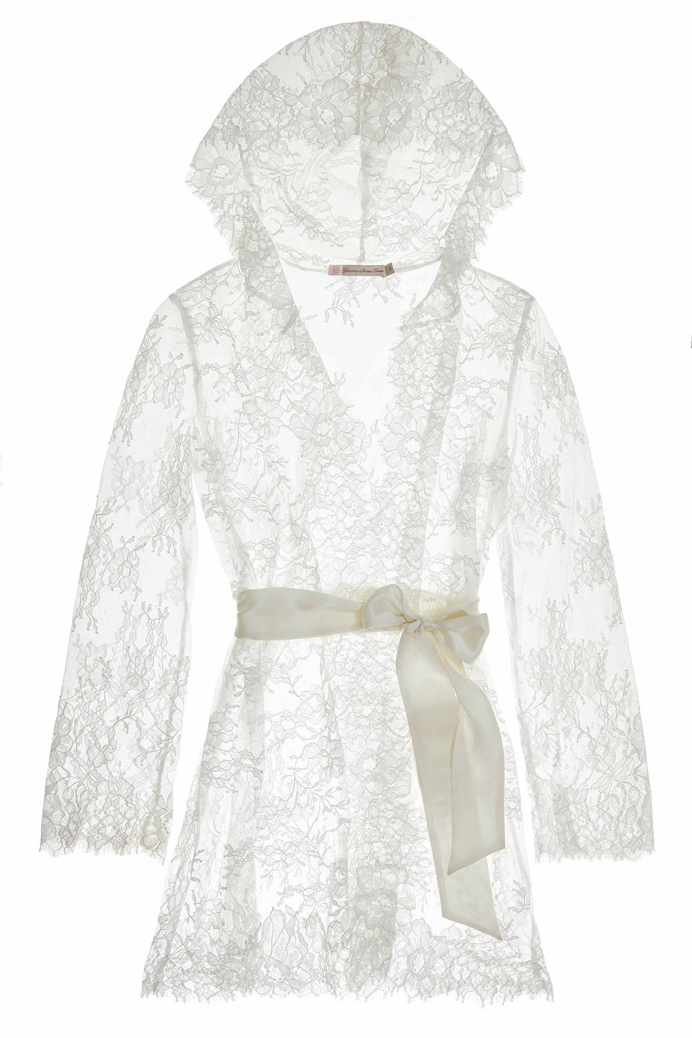 Camellia hooded lace robe in Ivory Bridal Trousseau Gift