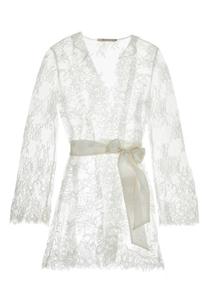 Camellia lace robe in Black