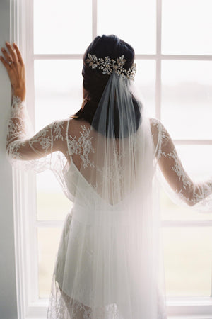 Camellia bridal lace robe in Ivory