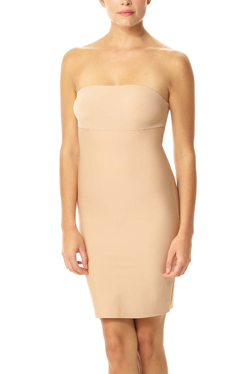 Commando Two-faced tech control strapless slip dress in Nude
