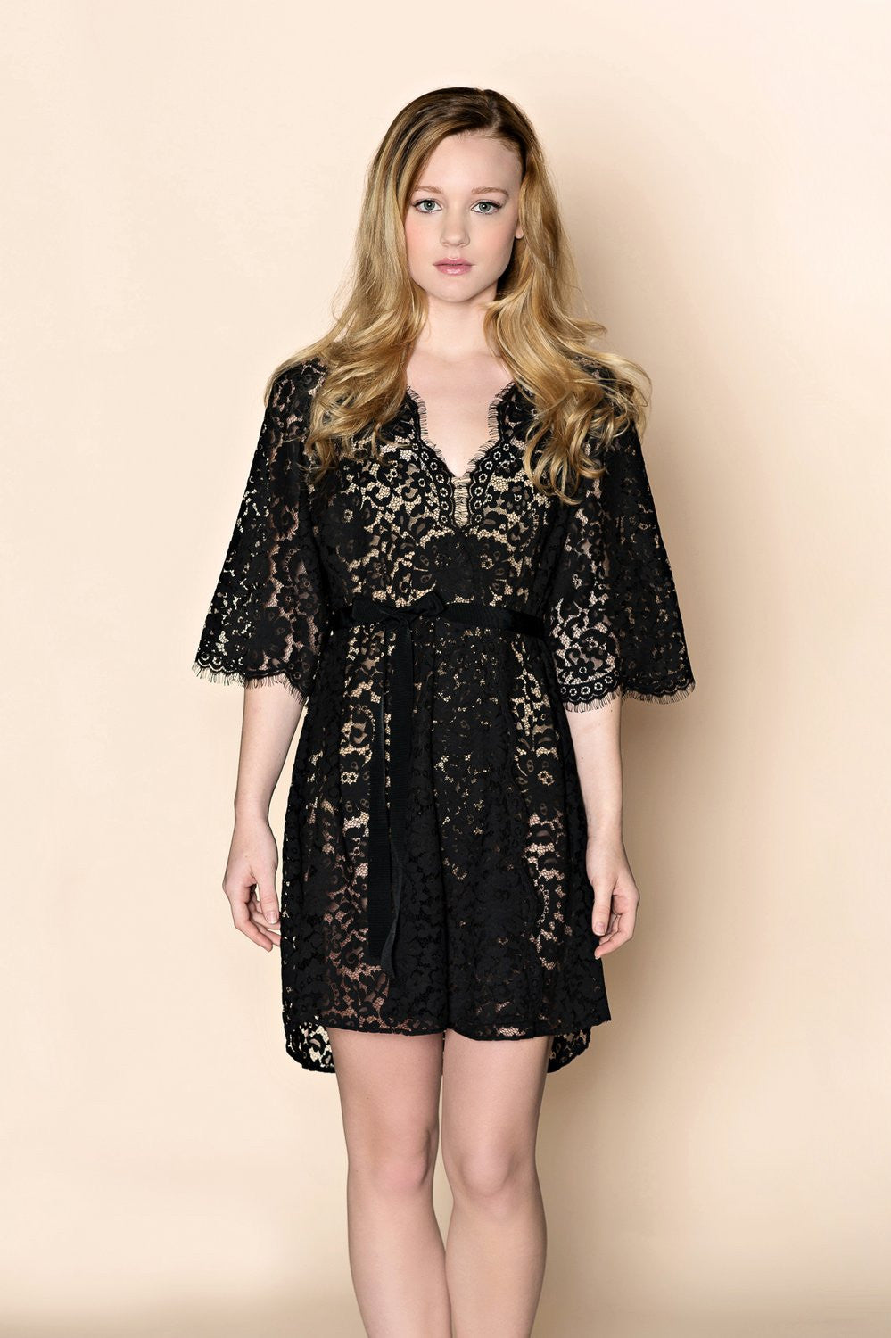 ELIZABETH SCALLOP COTTON LACE ROBE IN BOUDOIR BLACK - STYLE 120